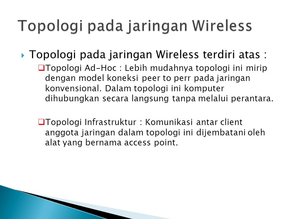 Topologi pada jaringan Wireless