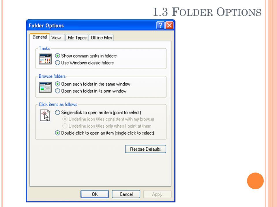 1.3 Folder Options