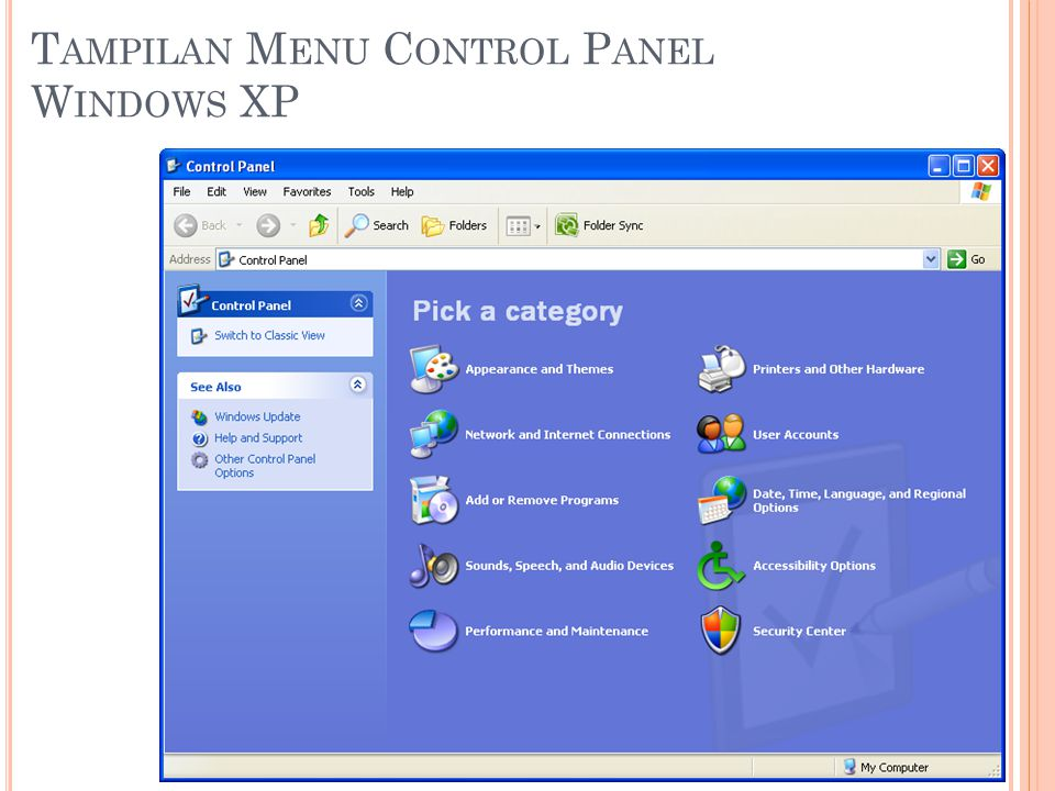 Tampilan Menu Control Panel Windows XP