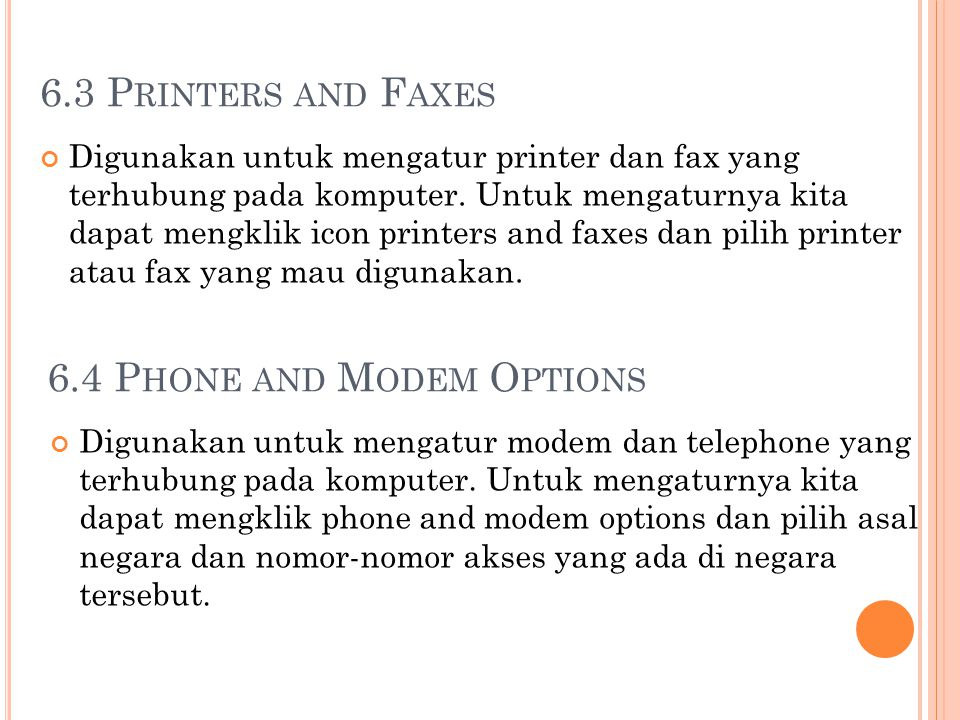 6.4 Phone and Modem Options