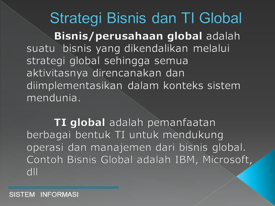 Strategi Bisnis dan TI Global