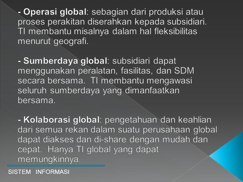 - Operasi global: sebagian dari produksi atau proses perakitan diserahkan kepada subsidiari. TI membantu misalnya dalam hal fleksibilitas menurut geografi.