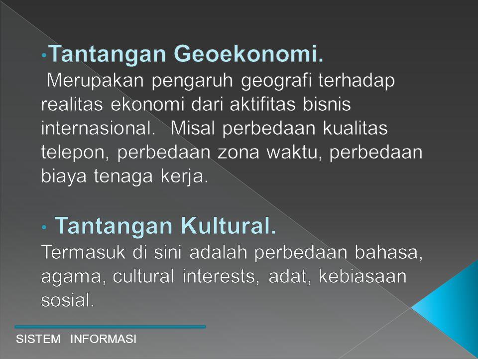 Tantangan Geoekonomi. Merupakan pengaruh geografi terhadap realitas ekonomi dari aktifitas bisnis internasional. Misal perbedaan kualitas telepon, perbedaan zona waktu, perbedaan biaya tenaga kerja.