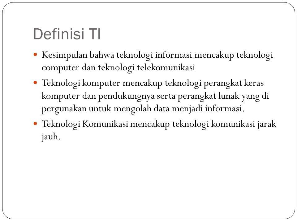 Definisi TI Kesimpulan bahwa teknologi informasi mencakup teknologi computer dan teknologi telekomunikasi.