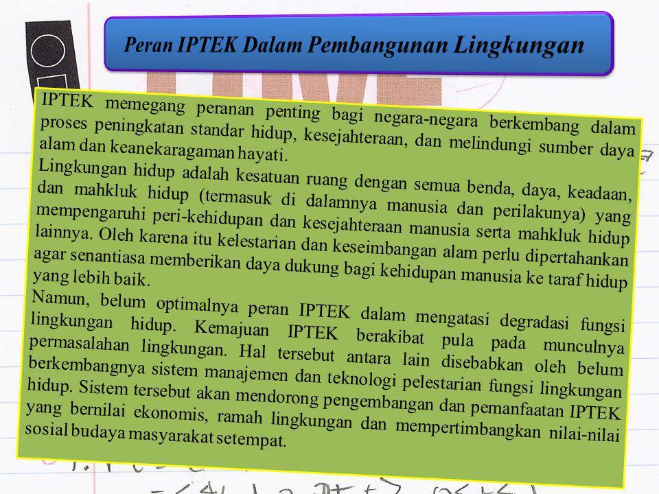 Peran IPTEK Dalam Pembangunan Lingkungan