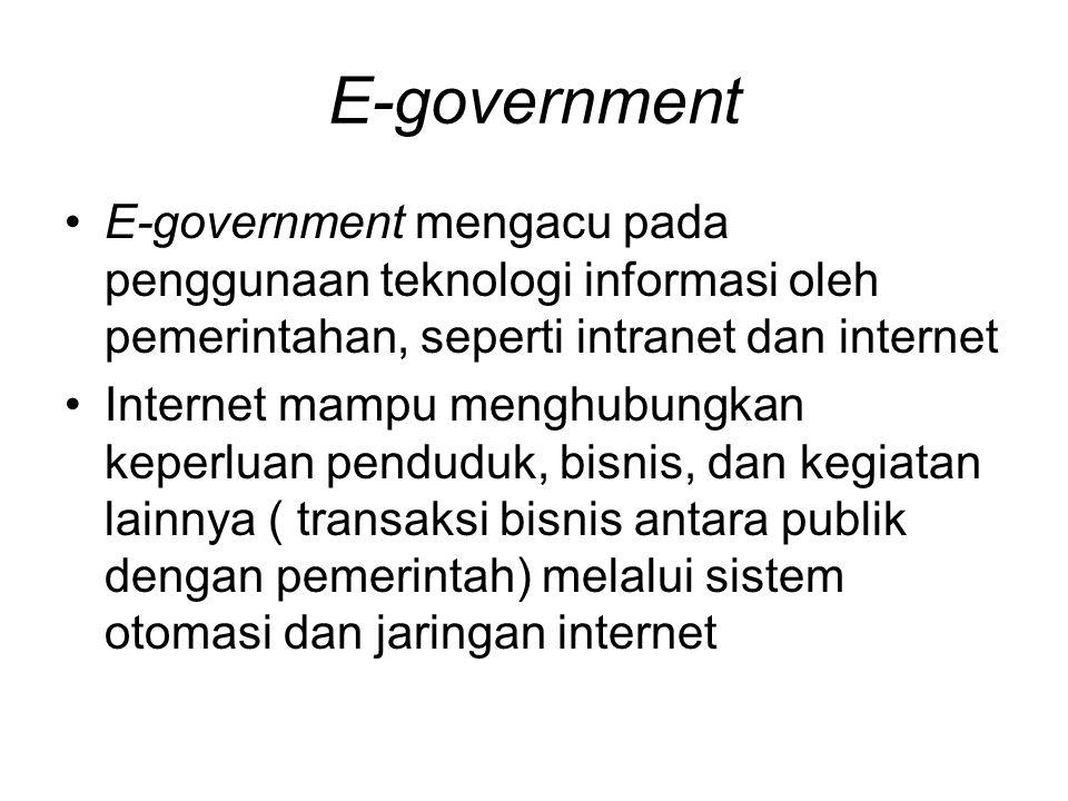 E-government E-government mengacu pada penggunaan teknologi informasi oleh pemerintahan, seperti intranet dan internet.