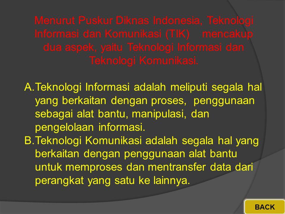 Menurut Puskur Diknas Indonesia, Teknologi Informasi dan Komunikasi (TIK) mencakup dua aspek, yaitu Teknologi Informasi dan Teknologi Komunikasi.