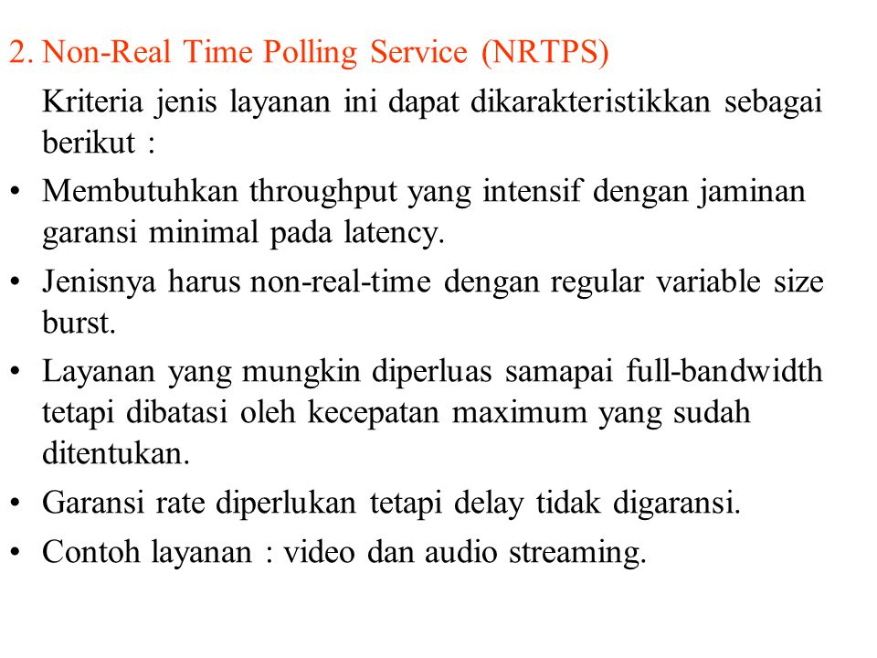 2. Non-Real Time Polling Service (NRTPS)