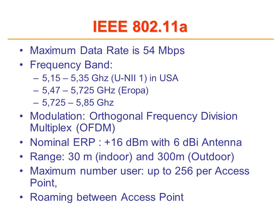 IEEE 802.11a Maximum Data Rate is 54 Mbps Frequency Band: