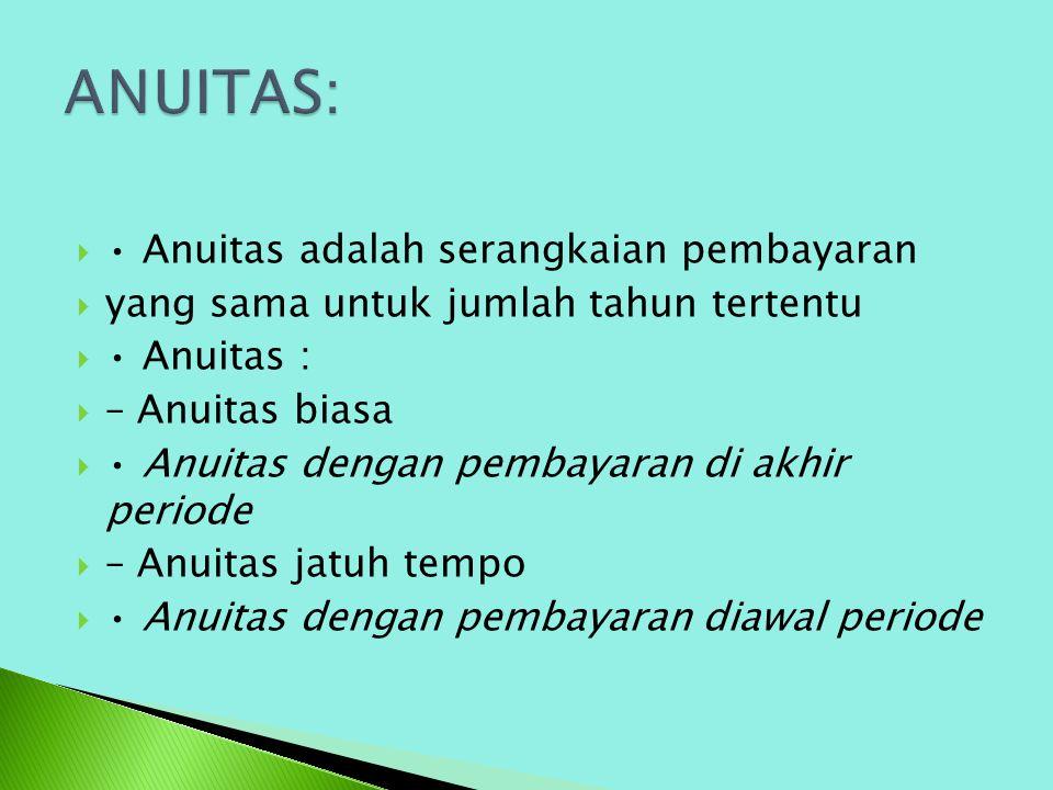 ANUITAS: • Anuitas adalah serangkaian pembayaran
