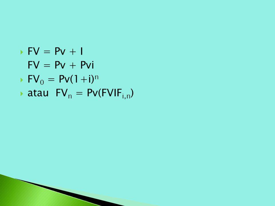 FV = Pv + I FV = Pv + Pvi FV0 = Pv(1+i)n atau FVn = Pv(FVIFi,n)