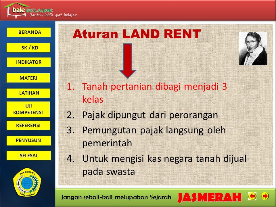 Aturan LAND RENT Tanah pertanian dibagi menjadi 3 kelas