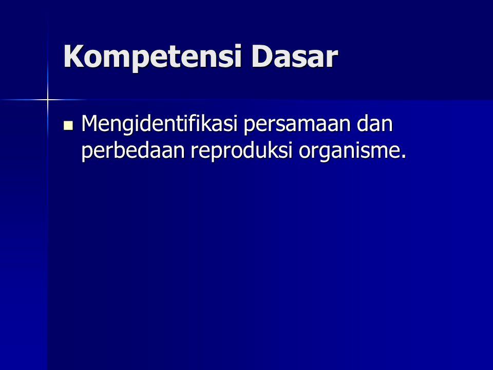 Kompetensi Dasar Mengidentifikasi persamaan dan perbedaan reproduksi organisme.