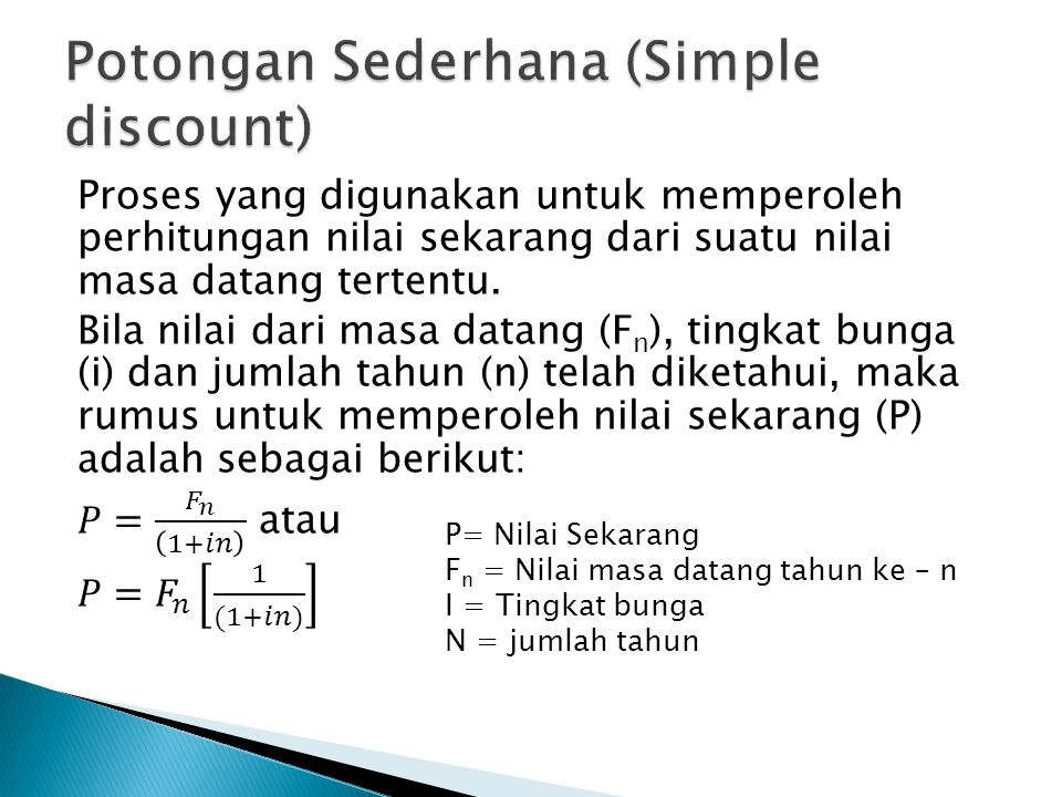 Potongan Sederhana (Simple discount)