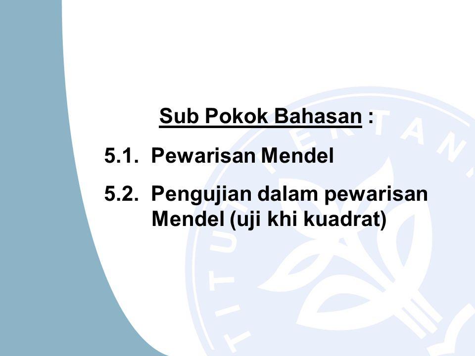 Sub Pokok Bahasan : 5.1. Pewarisan Mendel 5.2. Pengujian dalam pewarisan Mendel (uji khi kuadrat)