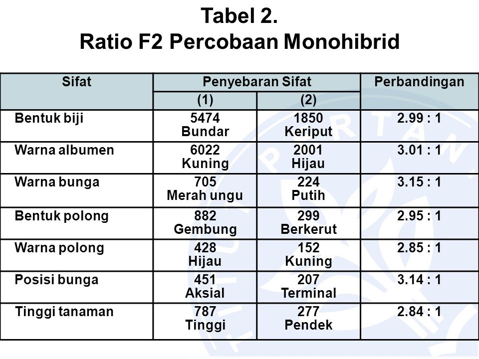 Ratio F2 Percobaan Monohibrid