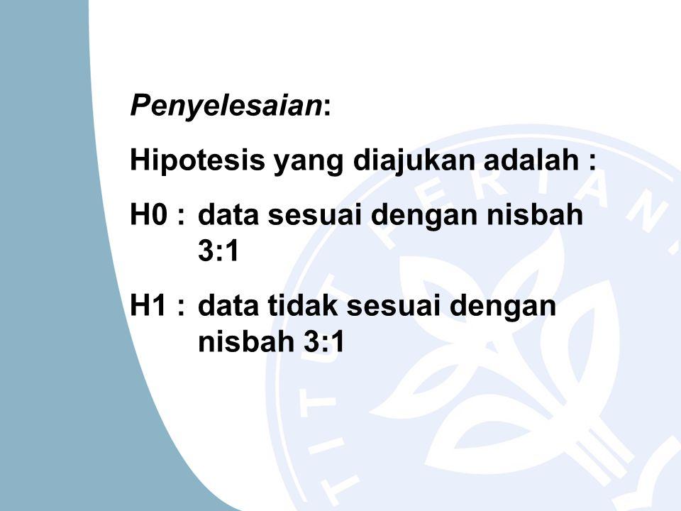 Penyelesaian: Hipotesis yang diajukan adalah : H0 : data sesuai dengan nisbah 3:1.