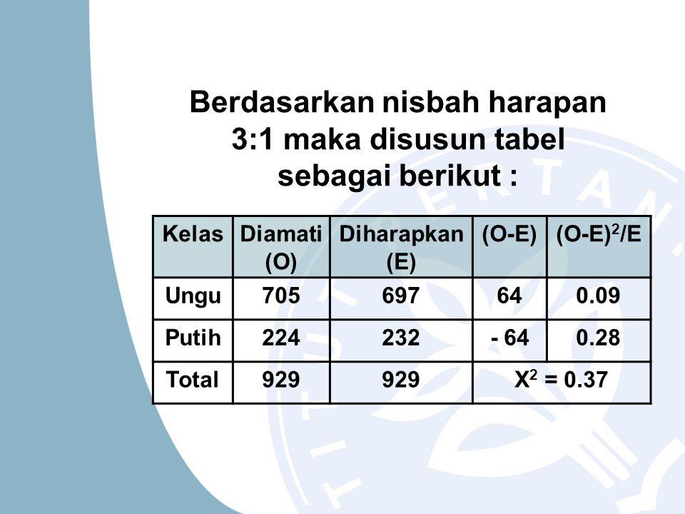 Berdasarkan nisbah harapan 3:1 maka disusun tabel sebagai berikut :