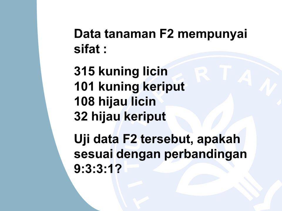 Data tanaman F2 mempunyai sifat :
