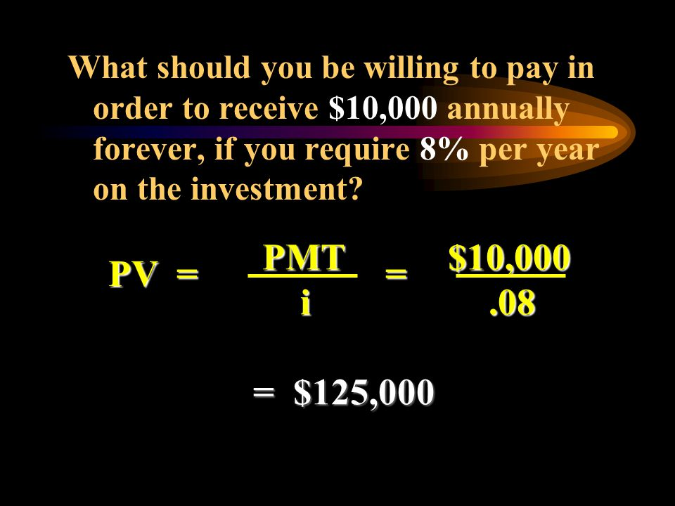 What should you be willing to pay in order to receive $10,000 annually forever, if you require 8% per year on the investment
