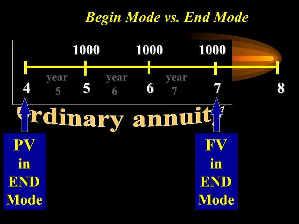 PV FV Begin Mode vs. End Mode 4 5 6 7 8 in END Mode in END Mode