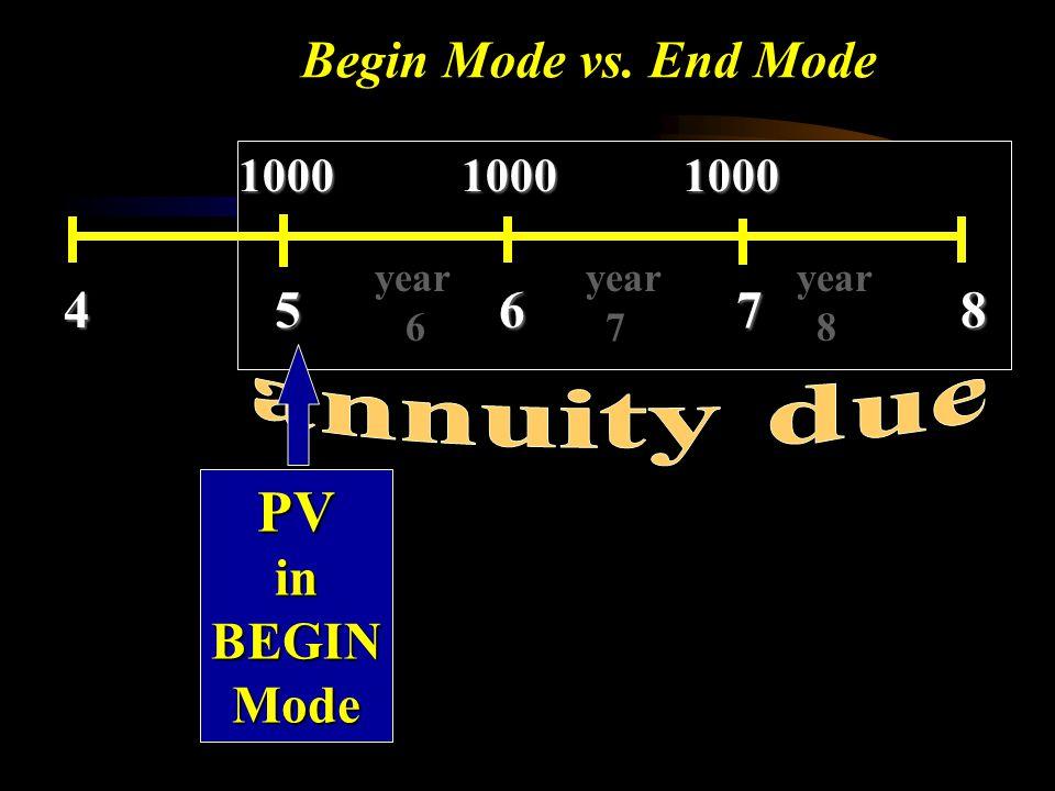 PV Begin Mode vs. End Mode 4 5 6 7 8 annuity due in BEGIN Mode