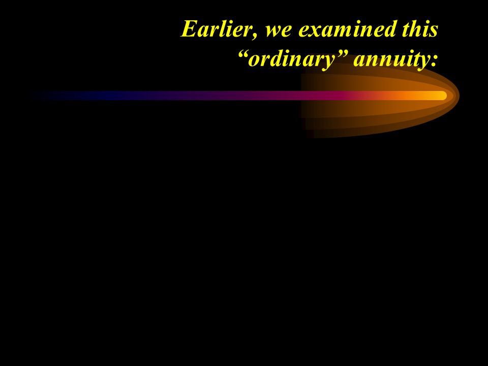 Earlier, we examined this ordinary annuity: