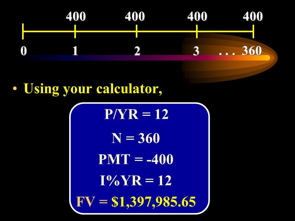 Using your calculator, N = 360 PMT = -400 I%YR = 12 FV = $1,397,985.65