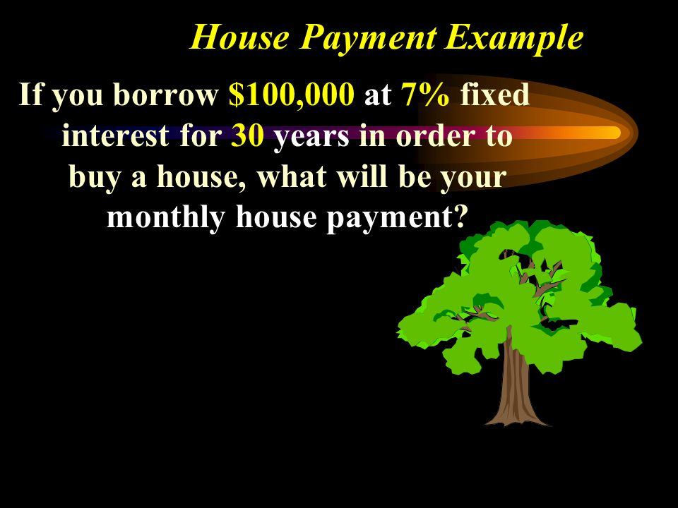 House Payment Example If you borrow $100,000 at 7% fixed interest for 30 years in order to buy a house, what will be your monthly house payment