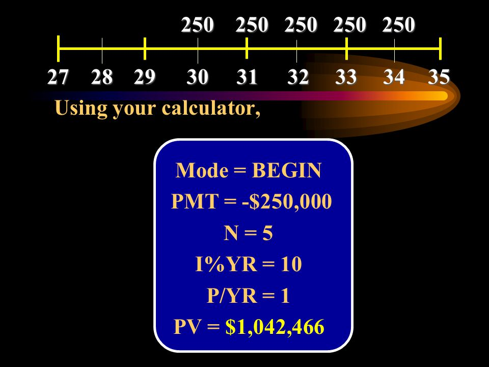 27 28. 29. 30. 31. 32. 33. 34. 35. 250 250 250 250 250. Using your calculator, Mode = BEGIN.