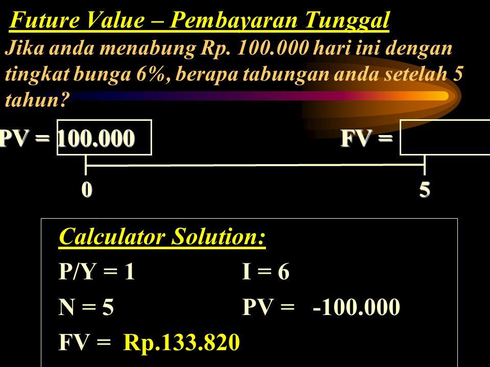 PV = 100.000 FV = Calculator Solution: P/Y = 1 I = 6