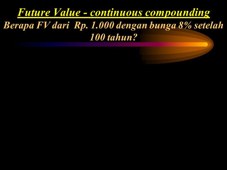 Future Value - continuous compounding Berapa FV dari Rp. 1