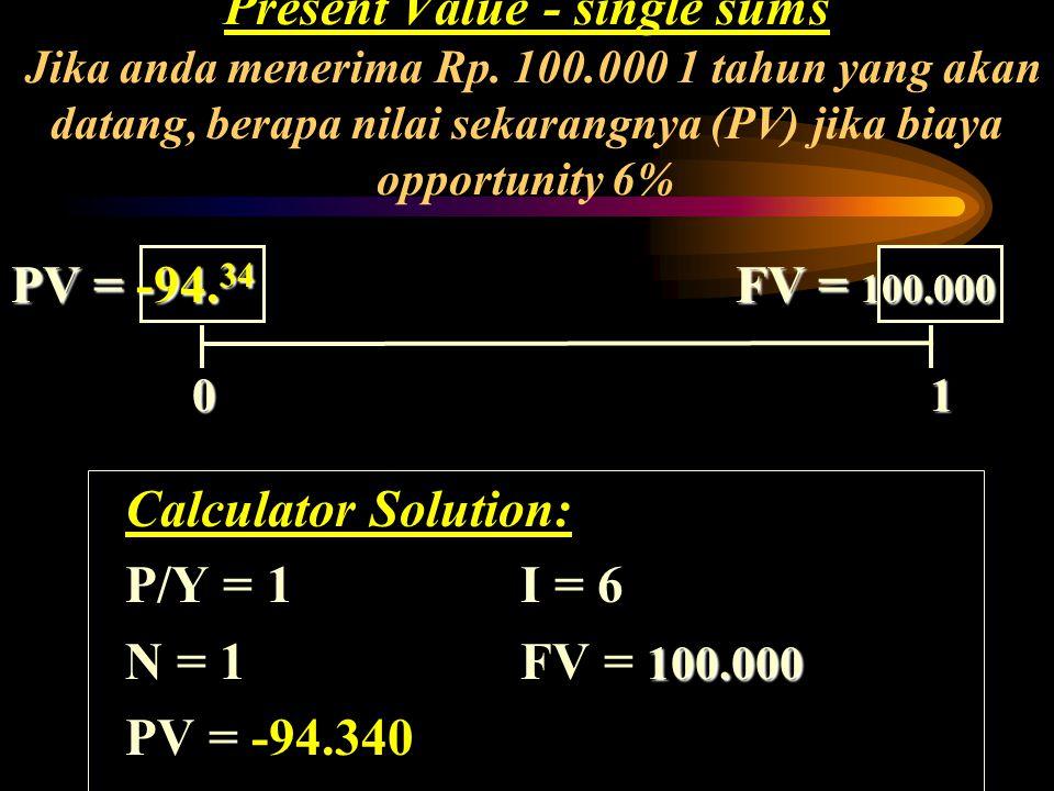 Present Value - single sums Jika anda menerima Rp. 100