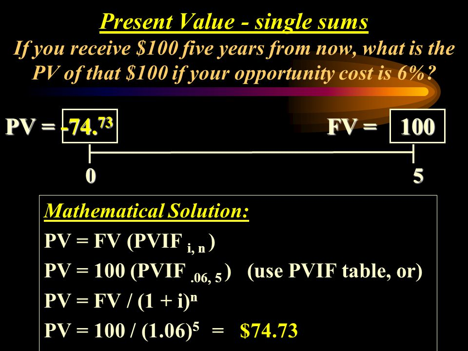 Present Value - single sums If you receive $100 five years from now, what is the PV of that $100 if your opportunity cost is 6%
