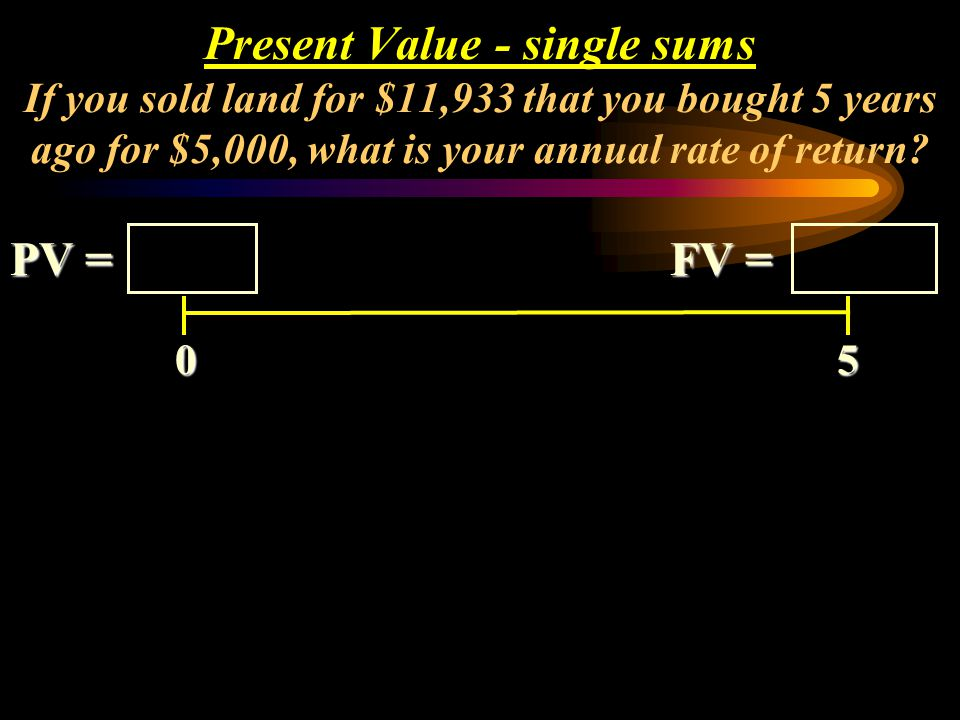 Present Value - single sums If you sold land for $11,933 that you bought 5 years ago for $5,000, what is your annual rate of return