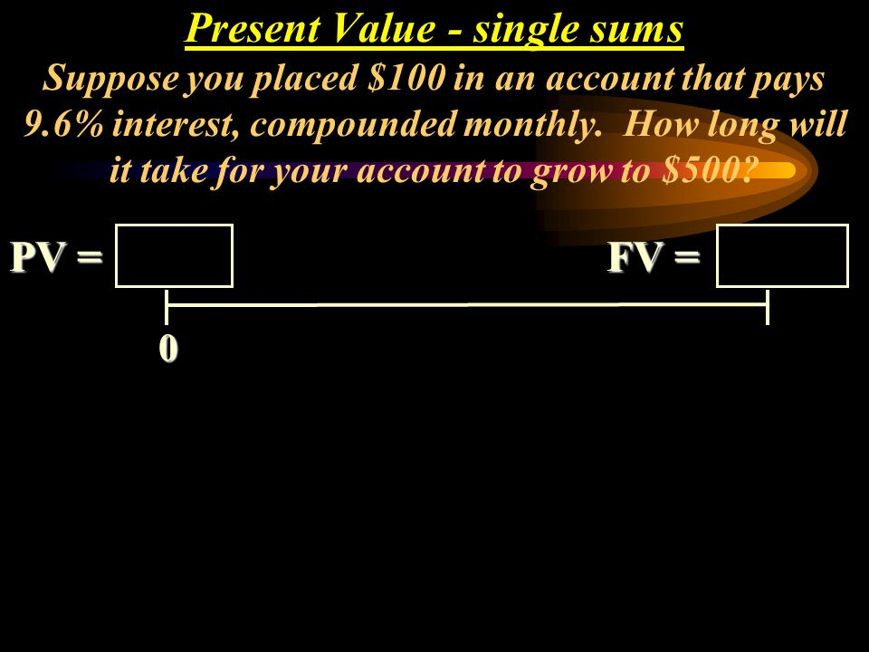 Present Value - single sums Suppose you placed $100 in an account that pays 9.6% interest, compounded monthly. How long will it take for your account to grow to $500