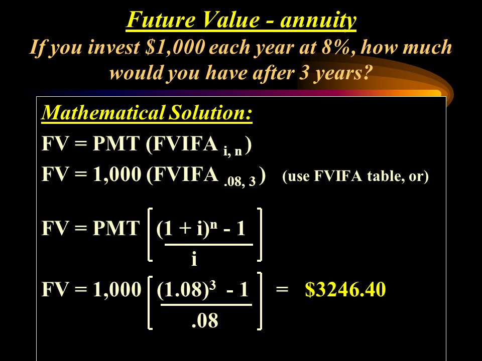 Future Value - annuity If you invest $1,000 each year at 8%, how much would you have after 3 years