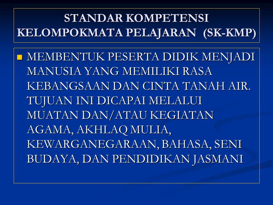 STANDAR KOMPETENSI KELOMPOKMATA PELAJARAN (SK-KMP)