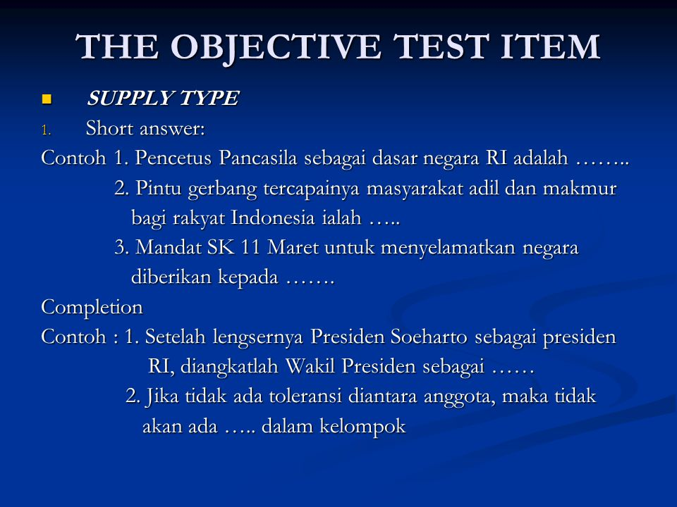 THE OBJECTIVE TEST ITEM