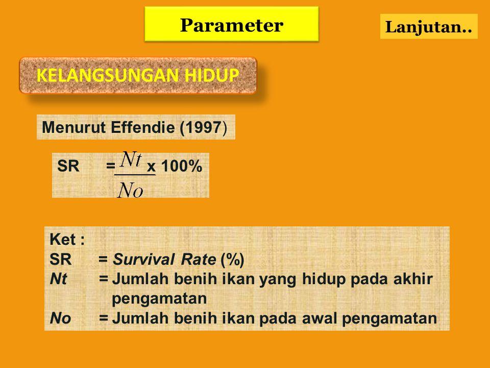 KELANGSUNGAN HIDUP Parameter Lanjutan.. Menurut Effendie (1997)