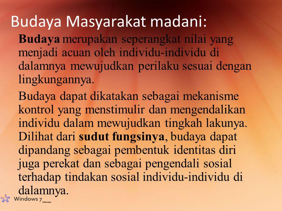 Budaya Masyarakat madani: