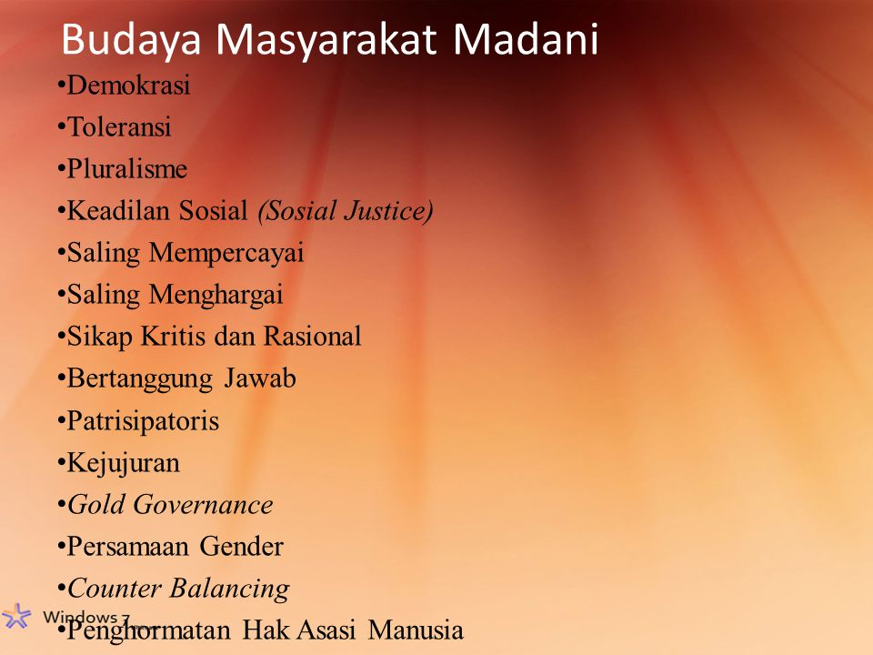 Budaya Masyarakat Madani