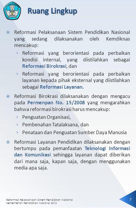 Ruang Lingkup Reformasi Pelaksanaan Sistem Pendidikan Nasional yang sedang dilaksanakan oleh Kemdiknas mencakup: