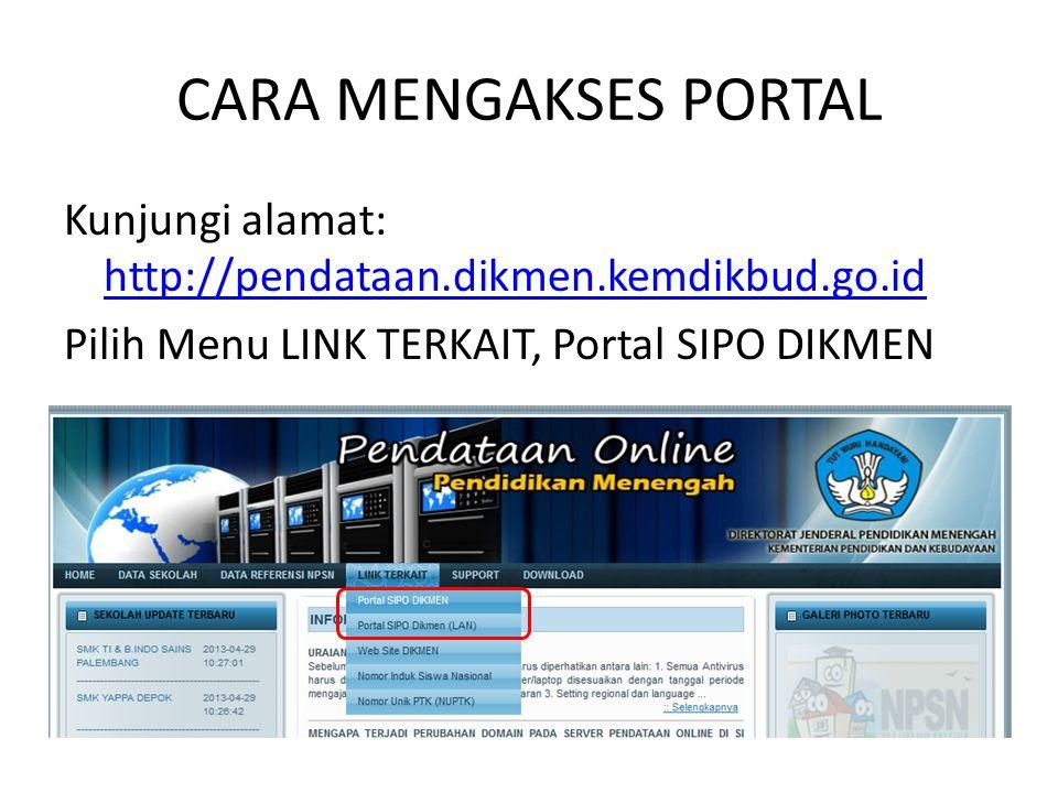 CARA MENGAKSES PORTAL Kunjungi alamat: http://pendataan.dikmen.kemdikbud.go.id Pilih Menu LINK TERKAIT, Portal SIPO DIKMEN