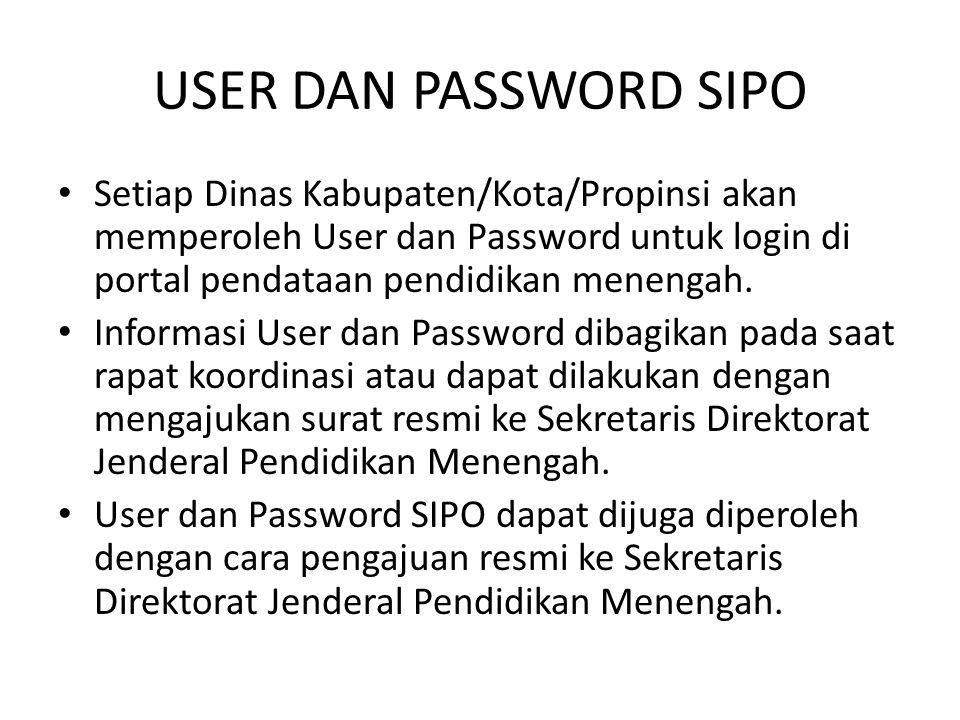 USER DAN PASSWORD SIPO Setiap Dinas Kabupaten/Kota/Propinsi akan memperoleh User dan Password untuk login di portal pendataan pendidikan menengah.