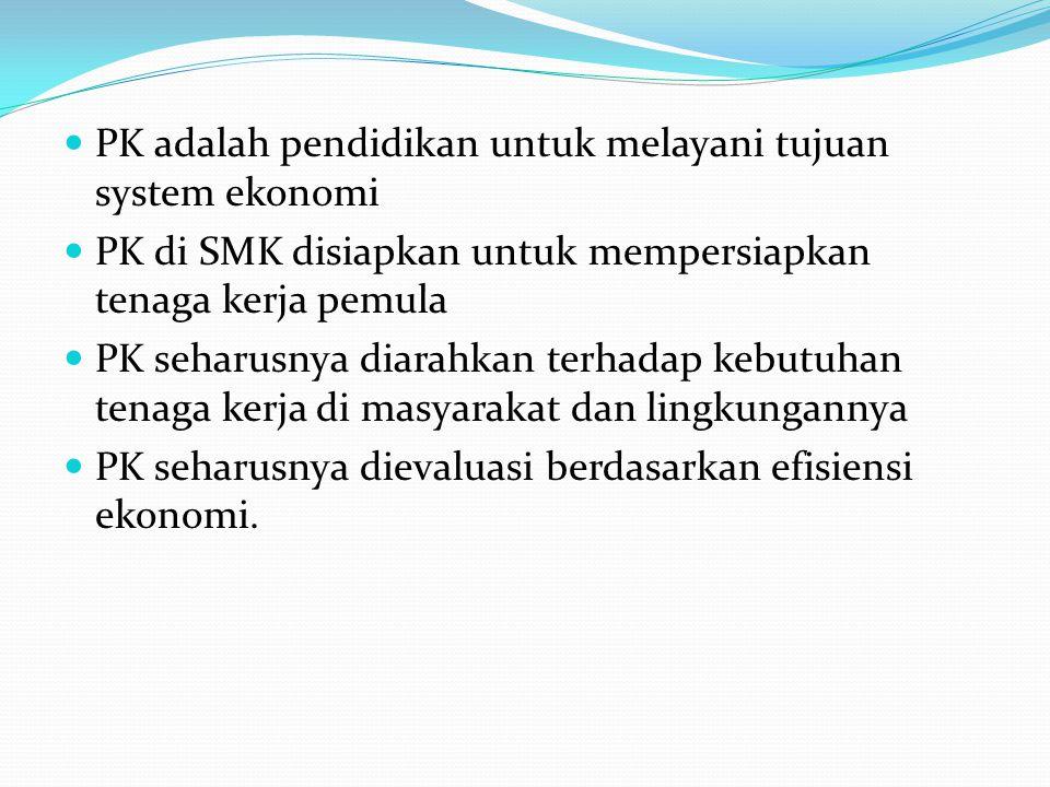 PK adalah pendidikan untuk melayani tujuan system ekonomi