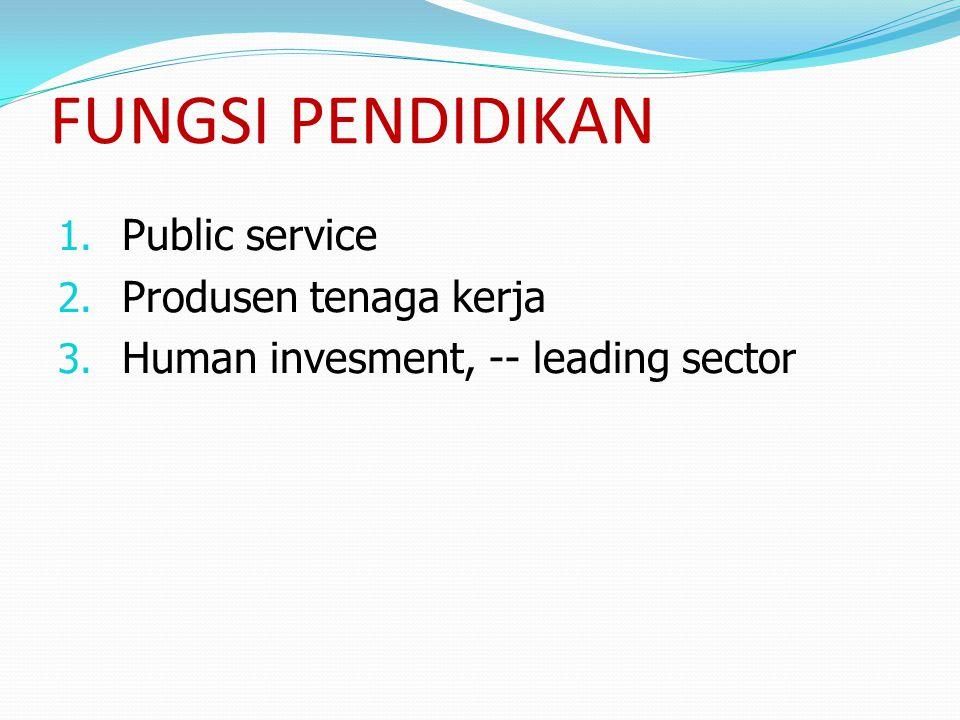 FUNGSI PENDIDIKAN Public service Produsen tenaga kerja