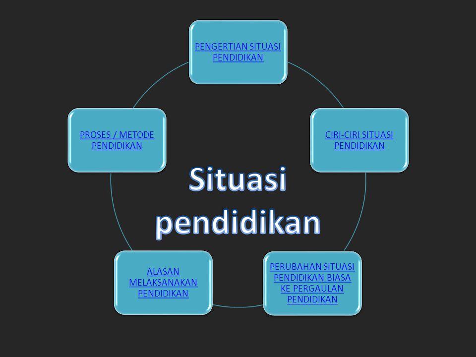 Situasi pendidikan PENGERTIAN SITUASI PENDIDIKAN