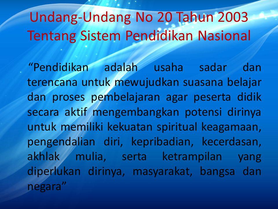 Undang-Undang No 20 Tahun 2003 Tentang Sistem Pendidikan Nasional