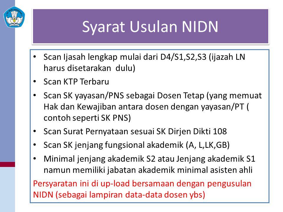 Syarat Usulan NIDN Scan Ijasah lengkap mulai dari D4/S1,S2,S3 (ijazah LN harus disetarakan dulu) Scan KTP Terbaru.